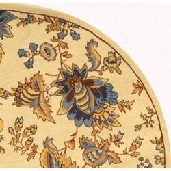 Safavieh Hand-hooked Garden Ivory Wool Rug (5'6 Round) - Thumbnail 2