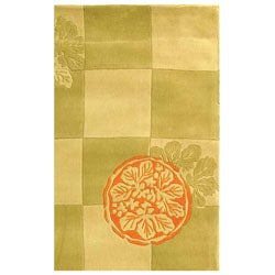 Safavieh Handmade Checker Floral Sage New Zealand Wool Rug (8' x 10')