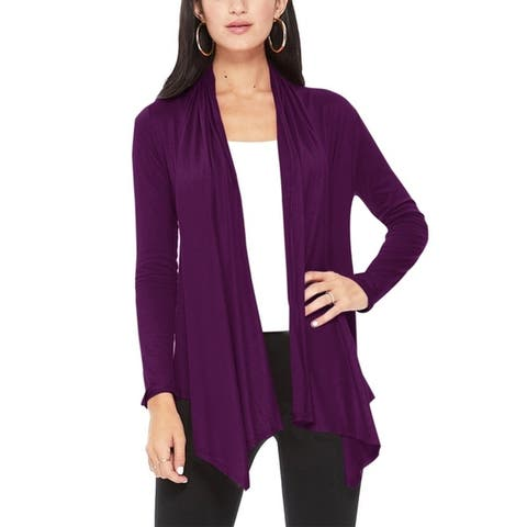 Women's Long Sleeve Relaxed Loose Fit Draped Solid Cardigan
