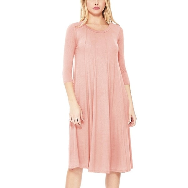 Women's Solid Loose Fit Jersey Knit Midi Dress. Opens flyout.