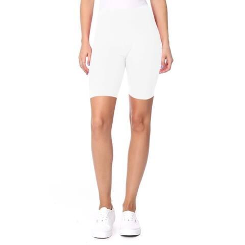 Women's Solid High Waist Yoga Biker Shorts Pants