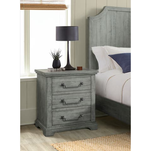 Martin Svensson Home Beach House 2 Drawer Solid Wood Nightstand, Dove Grey