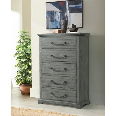 Martin Svensson Home Beach House 5 Drawer Solid Wood Chest, Dove Grey