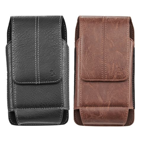 Universal Vertical Leather Holster Pouch with Belt Clip and Credit Card Slot