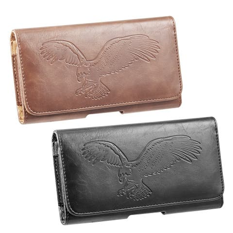 Universal Leather Pouch with Belt Clip Embossed eagle