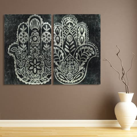 Night Hamsa Wall Art Reverse Printed Tempered Glass with Silver Leaf