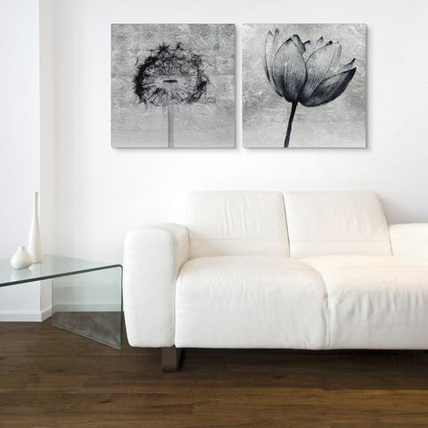 Dandelion & Tulip Wall Art Reverse Print Tempered Glass & Silver Leaf