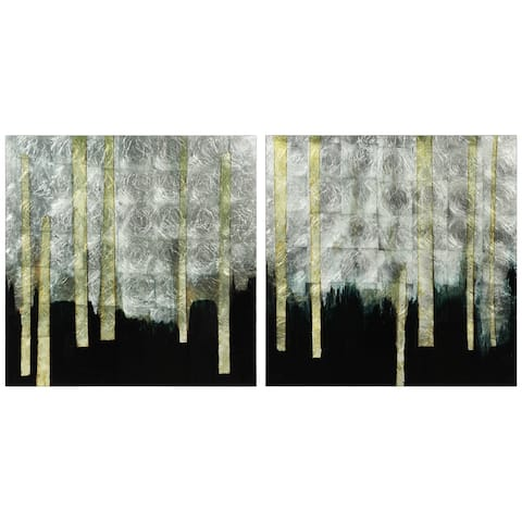 Gilt Treeline Reverse Printed Tempered Glass Wall Art with Silver Leaf