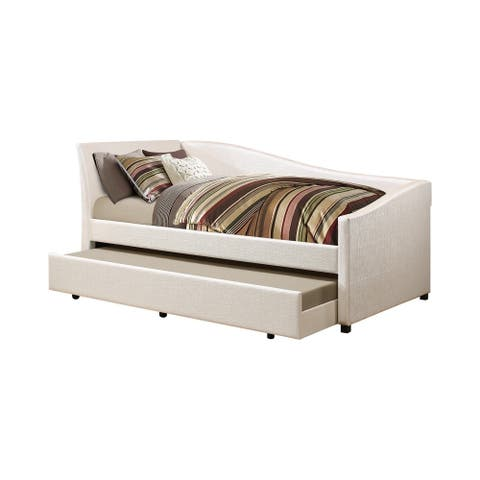Leatherette Twin Daybed with Trundle and Curvy Sloped Back, Beige