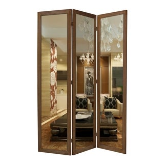 3 Panel Wooden Foldable Mirror Encasing Room Divider, Brown and Silver