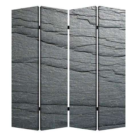 4 Panel Canvas and Metal Frame Room Divider, Slate Gray