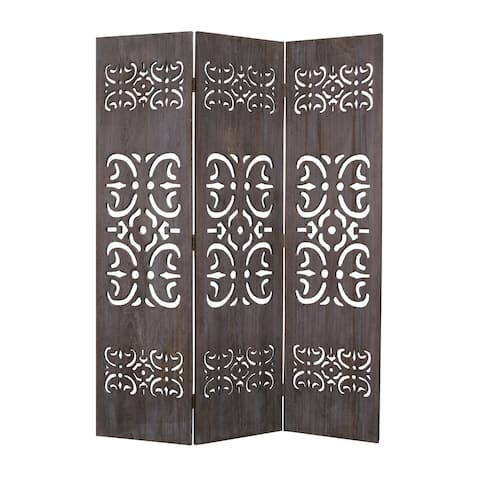3 Panel Shinto Cut Out Design Foldable Room Divider, Brown