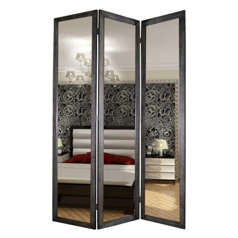 3 Panel Wooden Foldable Mirror Encasing Room Divider, Gray and Silver
