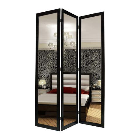 3 Panel Wooden Foldable Mirror Encasing Room Divider, Black and Silver