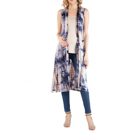 Tie Dye Sleeveless Long Maternity Cardigan with Side Slit