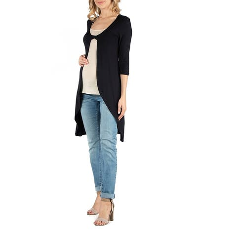Long Sleeve Maternity Cardigan with Closed Front Fabric Twist