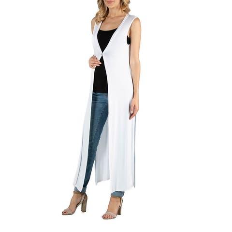 V Neck Sleeveless Maternity Duster Vest Cardigan