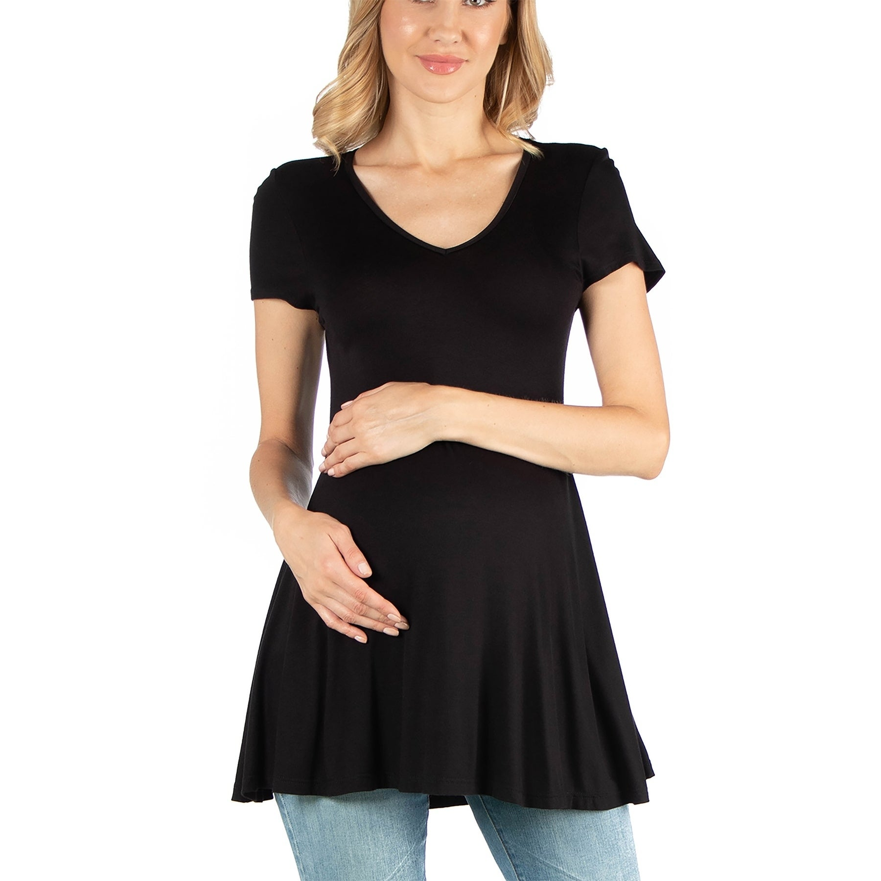 Cap Sleeve Maternity Tunic Top With Soft Flare Hem On Sale Overstock 31224487 Black M