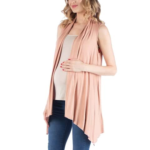 Draped Maternity Open Front Sleeveless Cardigan