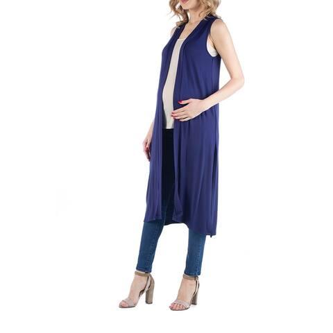 Sleeveless Long Maternity Cardigan with Side Slit
