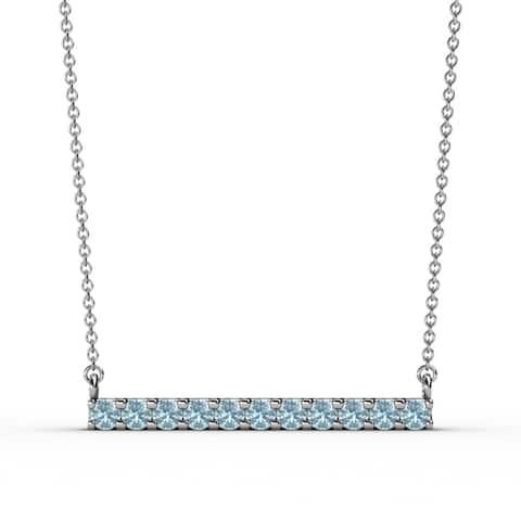 TriJewels Gemstone Womens Horizontal Bar Gold Pendant Necklace