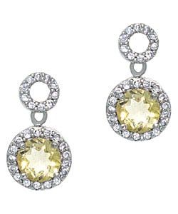 Glitzy Rocks Sterling Silver Citrine and CZ Circle Dangle Earrings