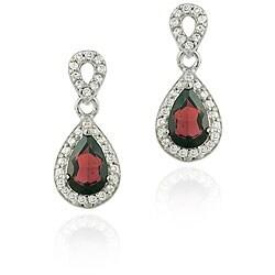 Glitzy Rocks 18k Garnet and CZ Teardrop Dangle Earrings