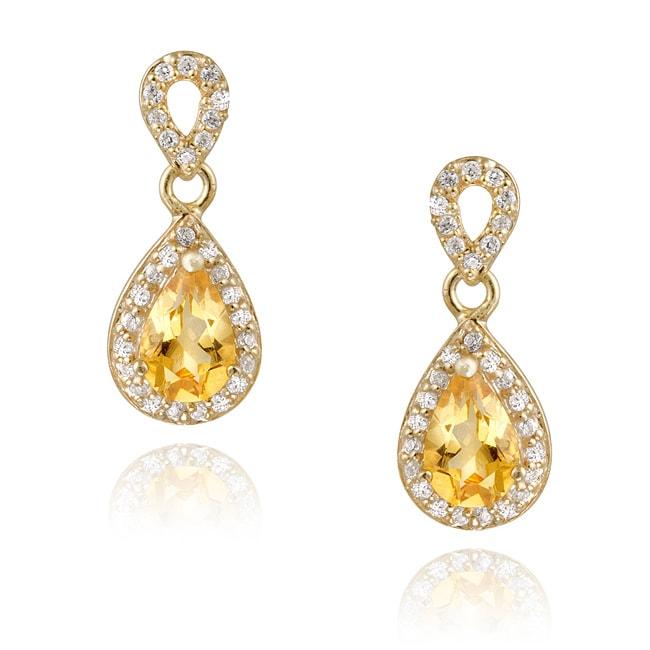 Glitzy Rocks 18k Gold over Silver Citrine and CZ Teardrop Earrings