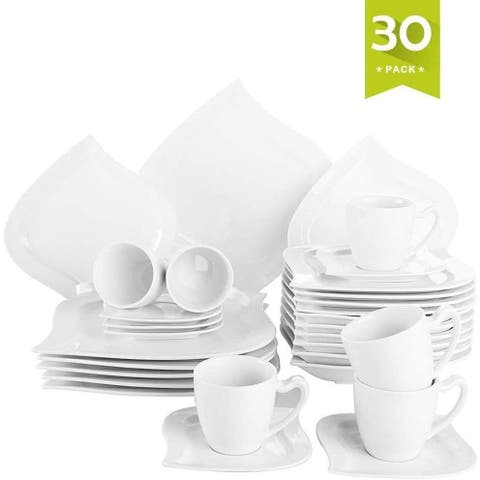 30 Pieces Dinnerware Set Square Dishes White