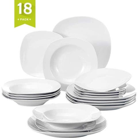 18 Pieces Dinnerware Set Square Dishes White