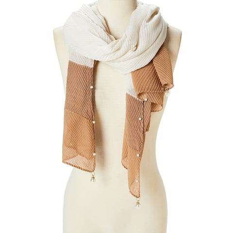 Women Long Viscose Fashion Scarf Neck Scarves Shawl Wraps Pearl Tasseled Girls Lightweight Hair Scarfs - Large