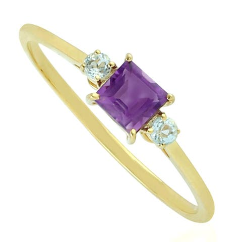 Amethyst Ring 10kt Yellow Gold Designer Handmade Jewelry
