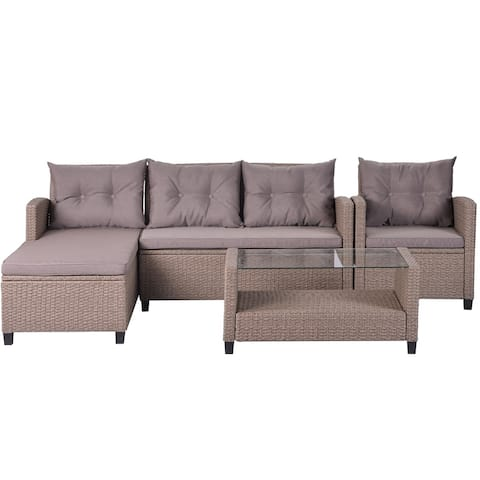Merax 4 Piece Patio Furniture Sets, Wicker Ratten Sectional Sofa with Seat Cushions