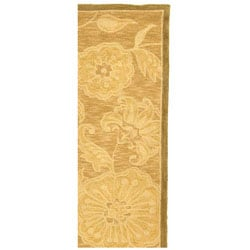 Safavieh Hand-hooked Abrashed Beige/ Light Brown Wool Runner (2'6 x 10') - Thumbnail 2