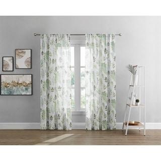 Brielle Home Rowan Printed Leaf Rod Pocket Sheer Curtain Panel