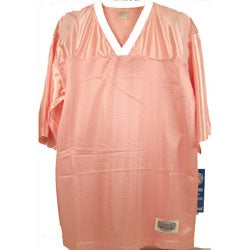 Pink Mesh Football Jersey with White Accents