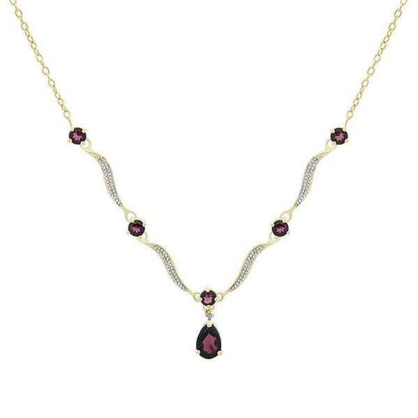 Glitzy Rocks 18k Gold over Sterling Silver 3.2ct TGW Garnet Wave Necklace