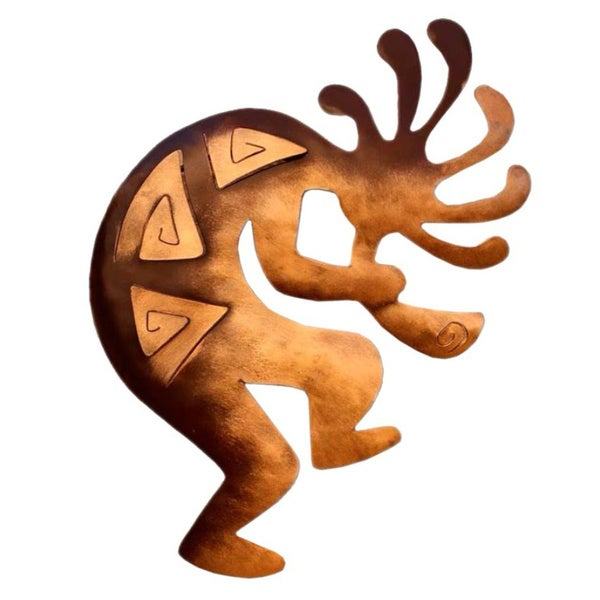 Kokopelli Peace Indoor Outdoor Decorator Accent Brown and Gold Iron Flute Player Rustic Metal Wall A