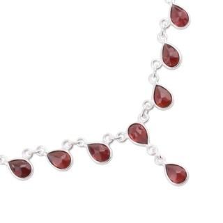 Scarlet Droplets 13.5 TCW Teardrop Garnet Pendants Set in 925 Sterling Silver Bezels Womens Waterfall Cascade Necklace (India)