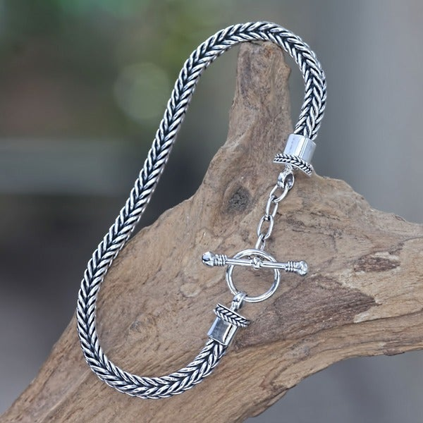 Dragon Bone Elegant Braided 925 Sterling Silver with Toggle Closure Everday Fluid Flexible Womens Bracelet (Indonesia)