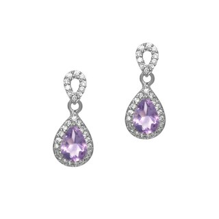 Glitzy Rocks Sterling Silver 1 3/4ct TGW Amethyst and CZ Earrings