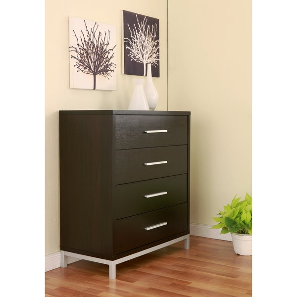 Furniture Of America Modern 4 Drawer Wood And Metal Chest
