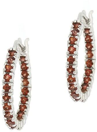 Glitzy Rocks Sterling Silver Inside-out Garnet Hoop Earrings