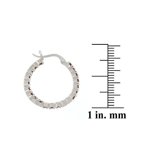 Glitzy Rocks Sterling Silver Inside-out Garnet Hoop Earrings - Thumbnail 1