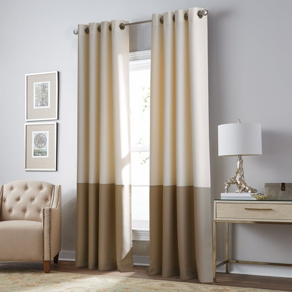 Kendall Blackout Color Block Grommet Curtain Panel in Ivory/Camel - 108 Inches (As Is Item). Opens flyout.