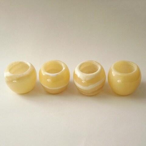 Handmade Set of 4 Polished Alabaster Globes (Egypt)