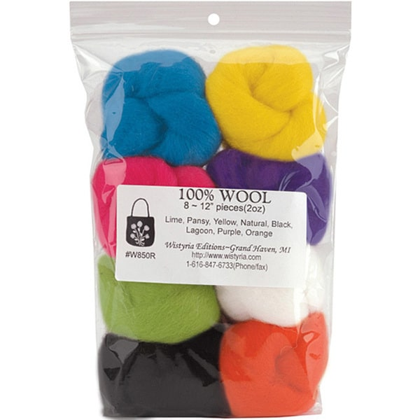 Wistyria Editions Yellow/Pea/Rose Assorted Wool Roving (Pack of Eight)