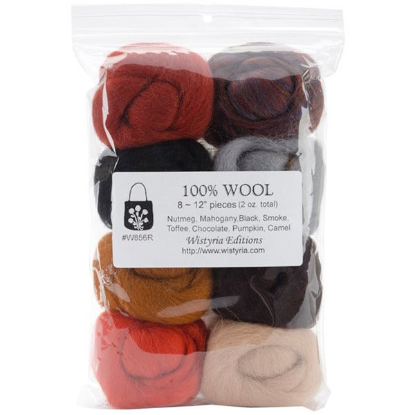 Wistyria Editions Assorted Wool Roving For Arts and Crafts (Pack of Eight)