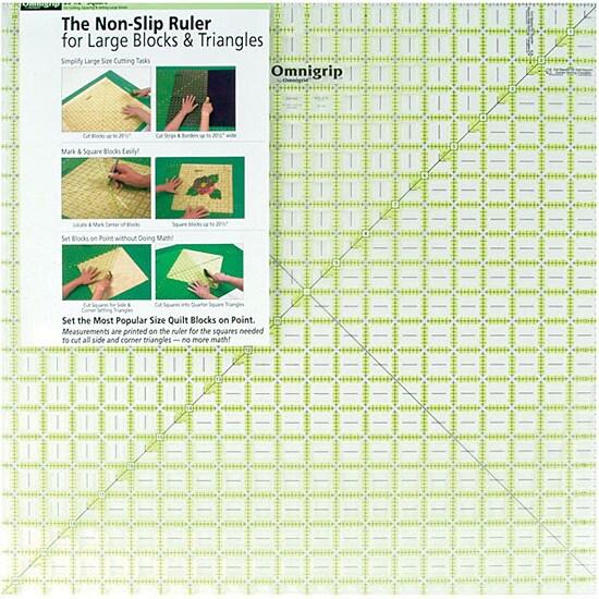 Omnigrip Non-slip Diamond Free Quilter's Ruler - Clear/Green