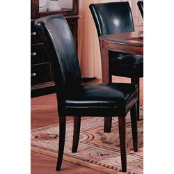 Black Bicast Leather Parson Chairs (Set of 2)